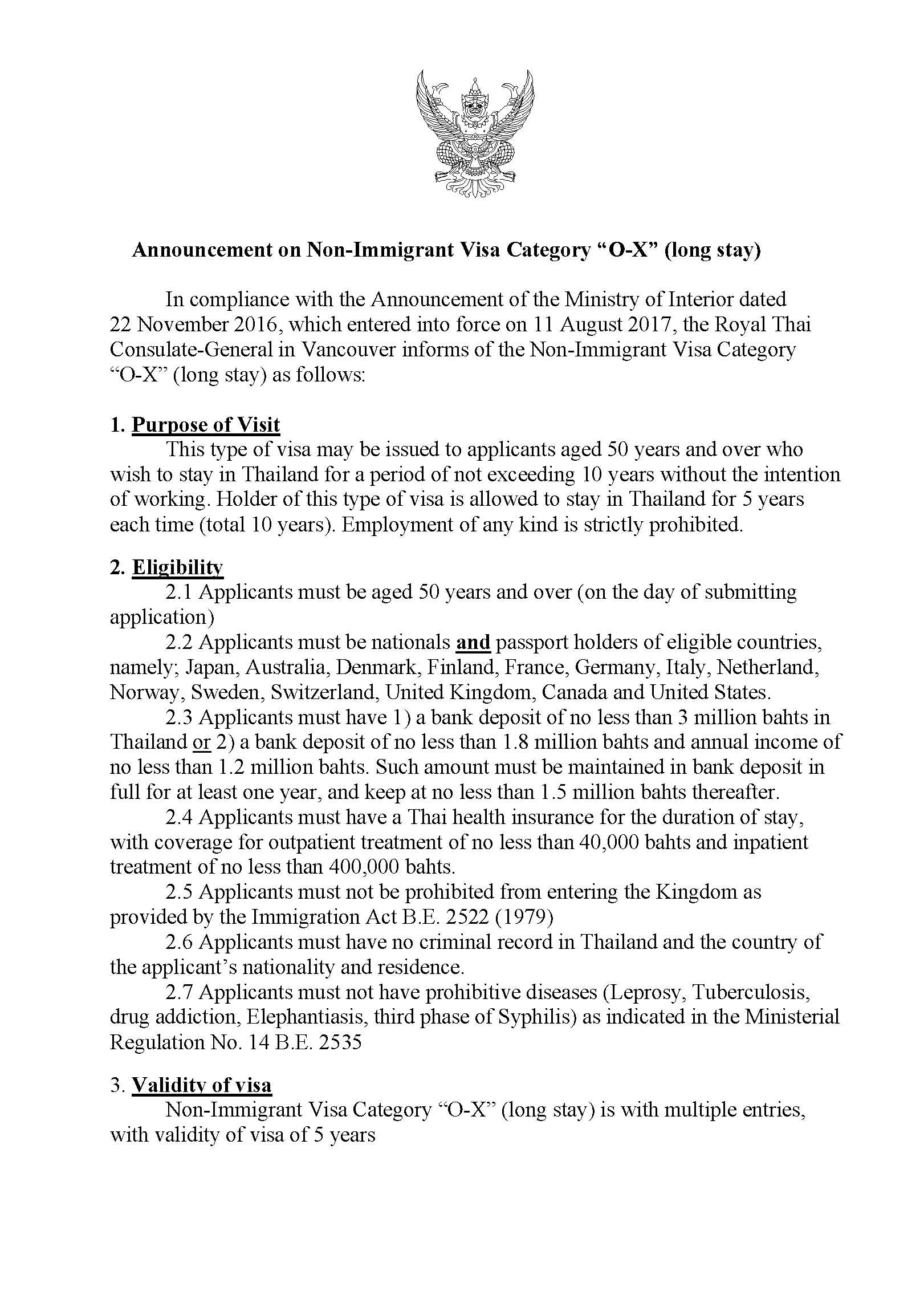 "Announcement on Non-Immigrant Visa Category ""O-X"" (long stay) 10 years"
