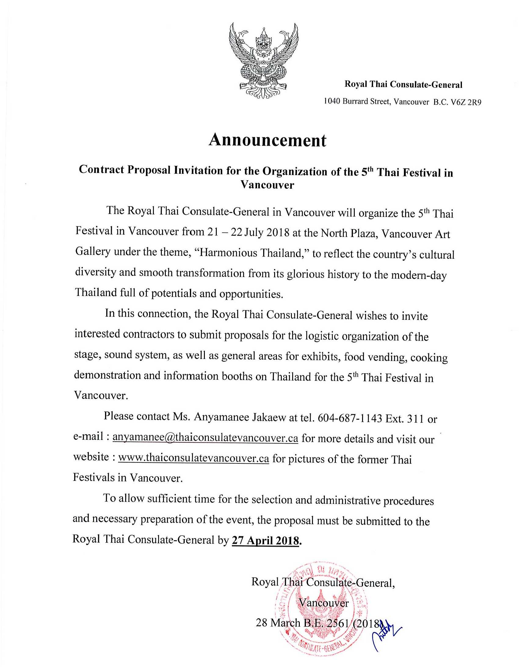 Announcement: Contract Proposal Invitation for Organization of the 5 Thai Festival in Vancouver