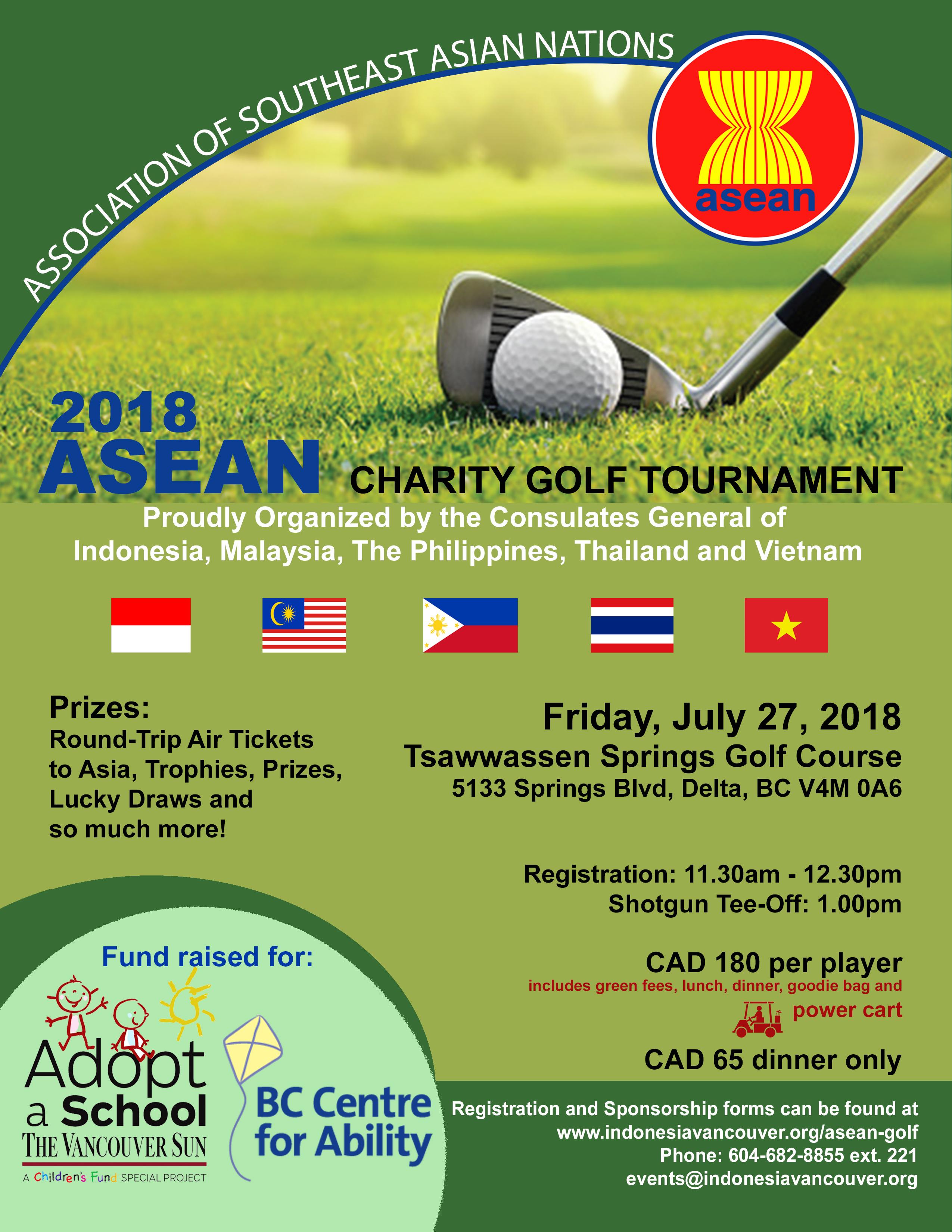 เชิญชวนผู้สนใจเข้าร่วมแข่งขันกอล์ฟในรายการ 2018 ASEAN Charity Golf Tournament (Jul 27)