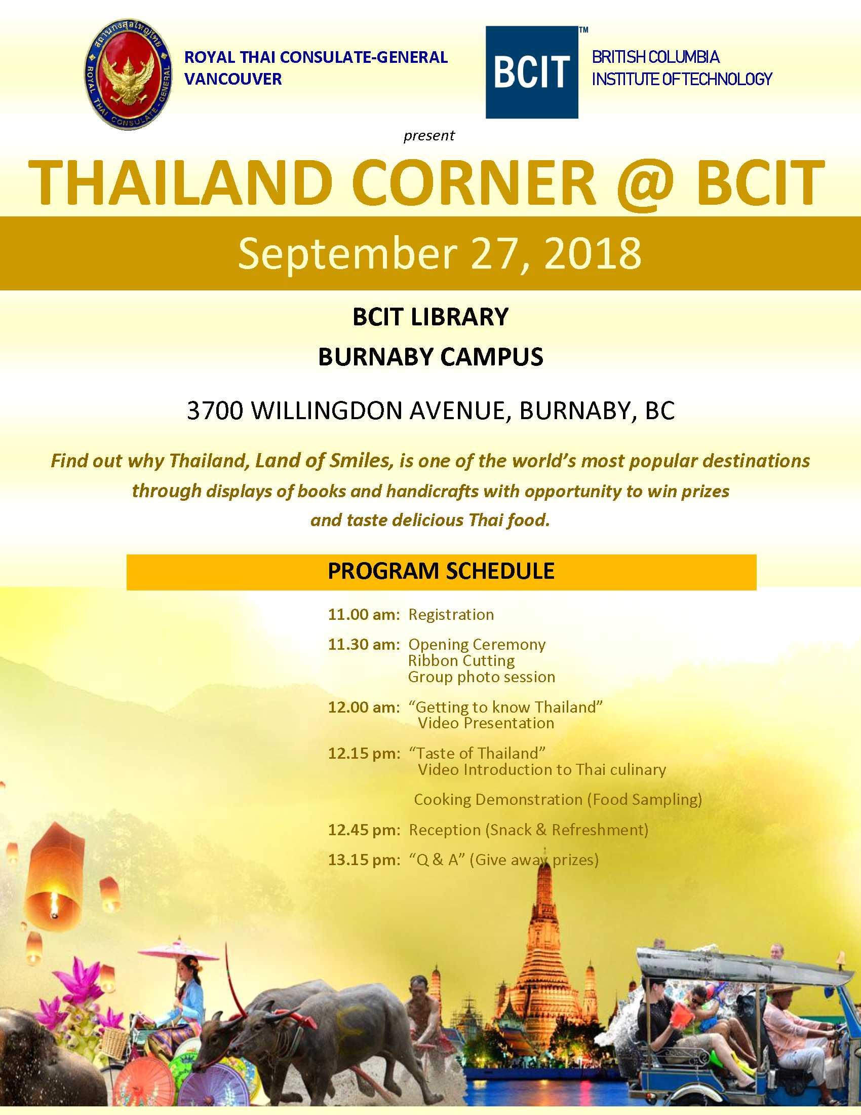 Thailand Corner at BCIT, September 27, 2018