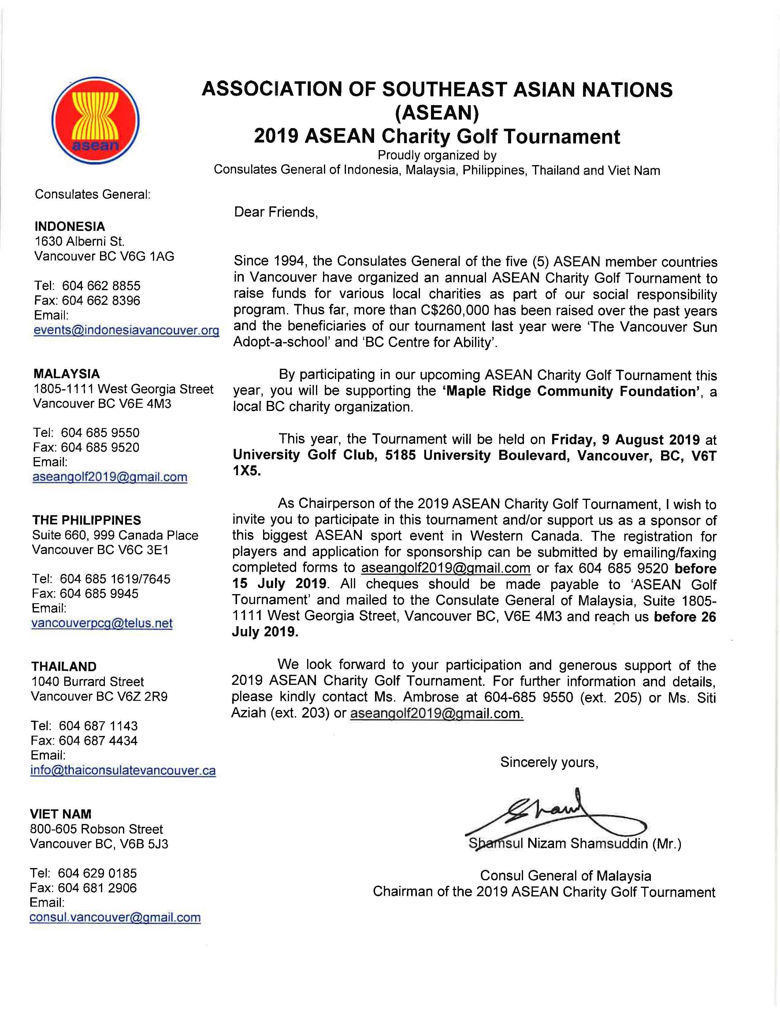 2019 ASEAN Charity Golf Tournament, Friday August 9   Royal Thai