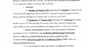 Announcement on Repatriation Flights in January 2021 / ประกาศสถานกงสุลใหญ่ฯ การจัดเที่ยวบินพิเศษ (Repatriation Flight) ในเดือนมกราคม 2564