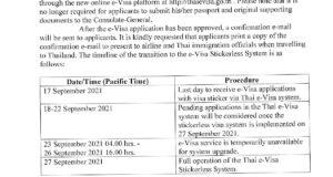 Announcement on Thai e-Visa Stickerless System